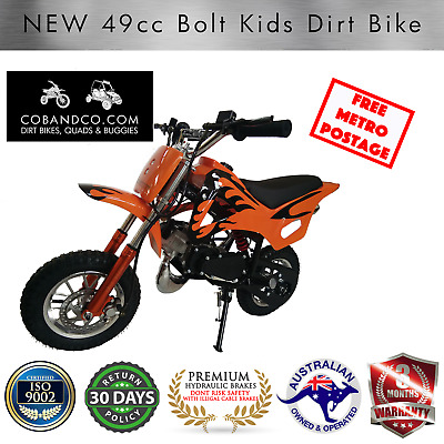 Kids Dirt Bike Mini Pee Wee Pocket Auto Off Road 49cc ORANGE BOLT |Cob & Co