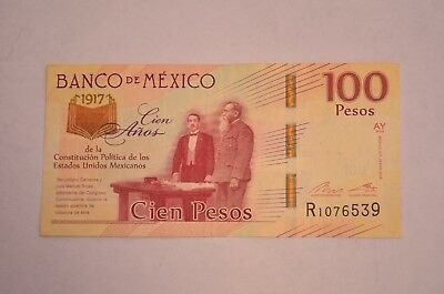4 Mexico 100 Pesos, 2017(2016) 3 UNC 1C,100 Years Political Mexican Constitution