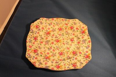 """Royal Winton Grimwades Old Cottage Chintz 10"""" square Luncheon Plate 1950's VGC"""