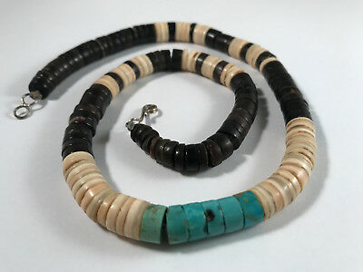 Vintage Native American Turquoise & Shell Heishi Beaded Necklace
