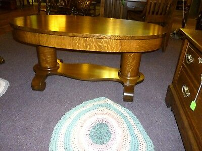 Antique Oak Coffee Table oval quartersawn tiger oak w/ drawer refinished 1900's