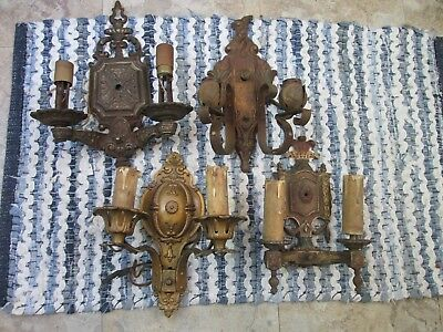 4 Antique Electric Wall Sconces - Nice Assortment!