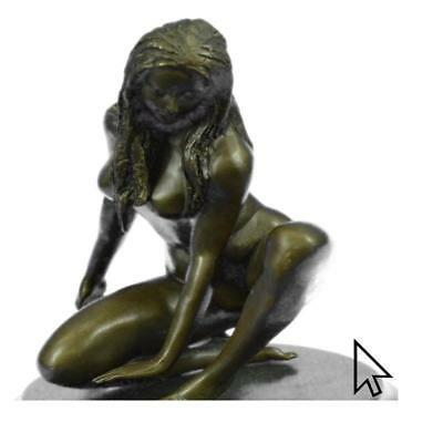 Signed Original Hot Cast Nude Girl By Renowned Artist Mavchi Bronze BW Sculptur