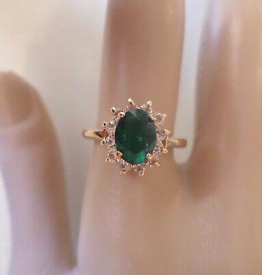 Vintage Gold Tone, Made in Taiwan, Green Glass Stone and Rhinestones, Ring Size