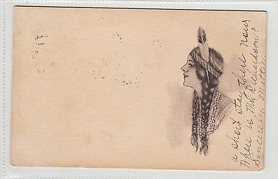 Native American Indian Girl artist Cobb Shinn Postcard 1909 Duncan Okla Cancel