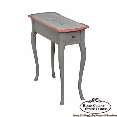 French Louis XV Style Hand Painted Narrow 1 Drawer Side Table w/ Hot Air Balloon