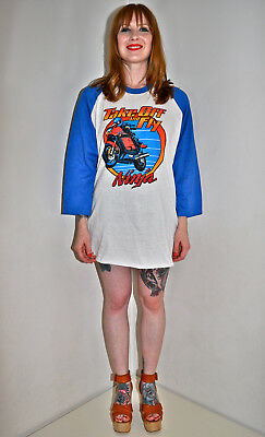 VTG 80s 1980s NINJA MOTORCYCLE Take Off and Fly Jersey T SHIRT Screen Stars XL