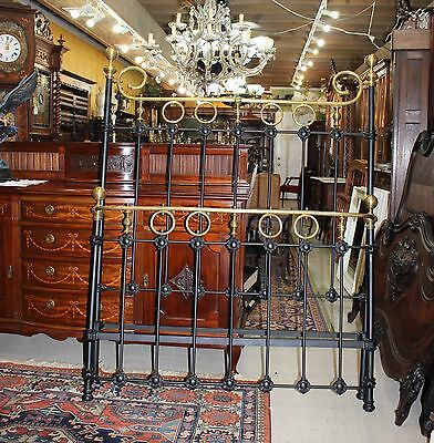 Beautiful English Antique Iron & Brass Painted Black Full Size Bed With Rails.