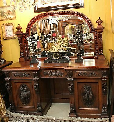 Exquisite French Antique Rosewood Hunt Scene Sideboard / Buffet With Mirror