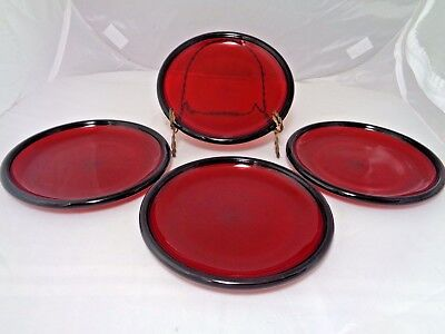 Vintage Ruby Red Glass Arcoroc Set Of Four Salad / Dessert Plates Made In France