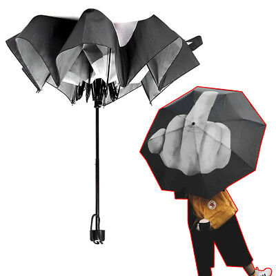 Funny erect Middle Finger Folding Rain Umbrella Foldable Waterproof Gift New