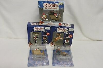 5 Enesco Rudolph The Red Nosed Reindeer Christmas Ornaments New in Boxes