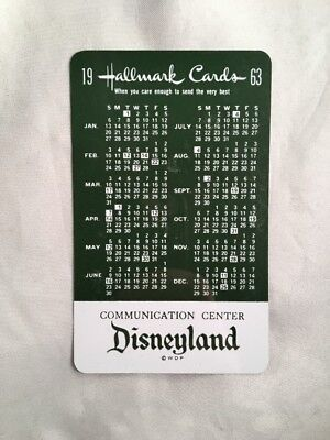 Vintage Disneyland Disney Land 1963 Hallmark Calendar Card Communication Center