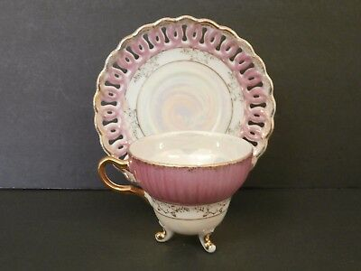 Unbranded Pink Iridescent Three Footed Tea Cup & Reticulated Saucer Gold Spatter