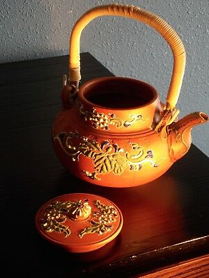 #234 Vintage Chinese Yixing teapot with beads , moriage decoration