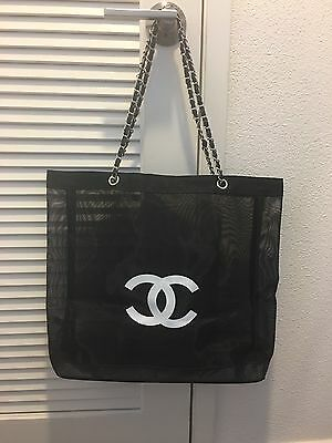 Chanel Beauty VIP Gift Mesh Tote Beach Bag Large (silver)