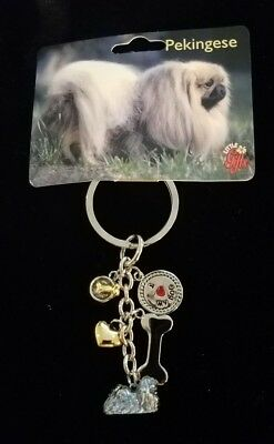 PEKINGESE I Love My DOG Key Chain Little Gifts Key Ring with 6 Charms