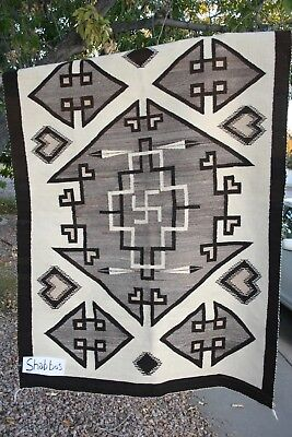 Genuine Navajo Rug Whirling Log 1930's 62x45 inches