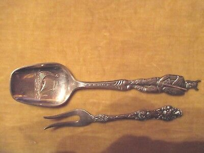 Th Marthinsen Lemon Fork & Collector Viking Spoon  Epns