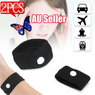 2 x Anti Nausea Wristbands Travel Sick Bands Motion Sea Plane Car Sickness BO