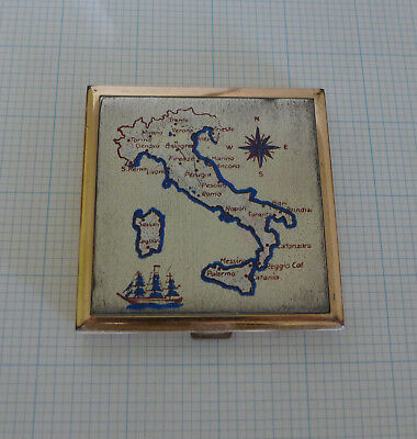 Vintage Compact With Map Of Italy