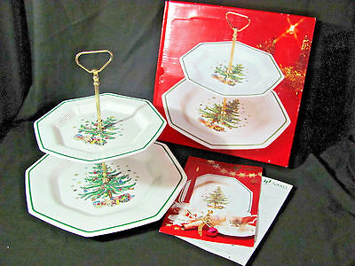 Nikko Christmastime Two-Tier Tray with Gold Handle