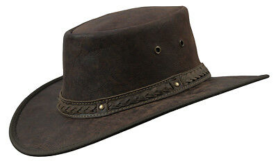 Barmah Squashy ROO CRACKLE Kangaroo Leather Wide Brim Hat + FREE POSTAGE