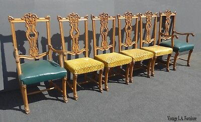 Set of Six Vintage Rococo French Provincial Ornately Carved Dining Chairs Louis