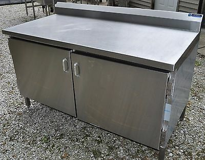 FT HEAVY Duty Stainless Steel Flat Prep Table Shelf Work Cabinet - 8 ft stainless steel work table