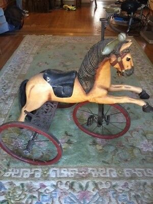 "Antique Hand Carved Wooden Horse Tricycle - Full Size 33"" Tall"