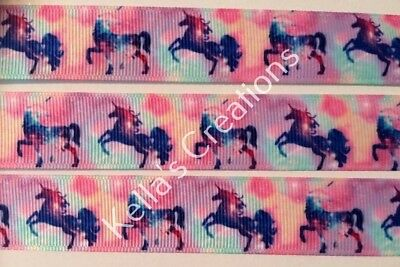 "Unicorn/Horse Grosgrain Ribbon 7/8""- 22mm sold by 2 M -Craft- Hair bows-Lanyards"