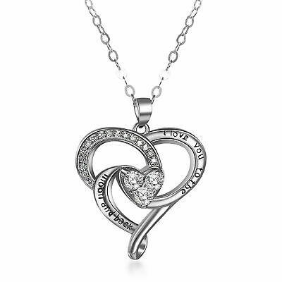 "925 Sterling Silver ""I Love You To The Moon and Back"" Heart Pendant Necklace"