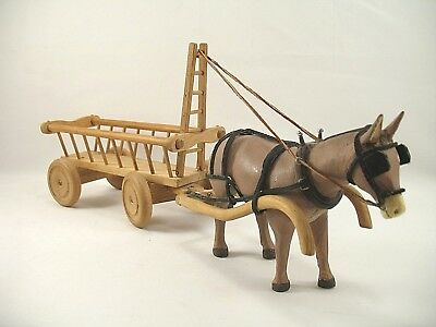 Folk Art Hand Carved/Made Donkey Mule with Harness and Ladder Cart