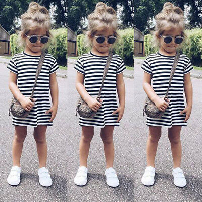 Toddler Baby Kid Girl Casual Short Sleeve Party Striped Princess Dresses Clothes