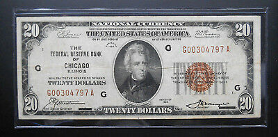 """1929 $20 National Currency Bank Note  """"""""Chicago""""""""  Fr.#1870-G Very Fine +"""