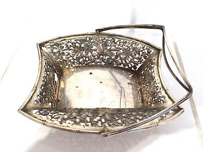 Bowl Henkelbowl China  export solid silver Cherry blossoms and bird relief