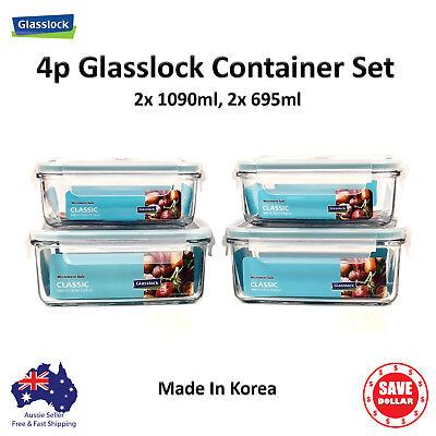 Glasslock 4p Set Tempered Glass Food Container Storage Microwave Safe BPA FREE