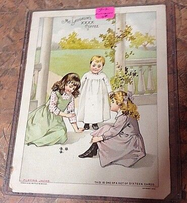 1892 McLaughlin's XXXX COFFEE, Advertising Card, 3 Girls. playing Jacks