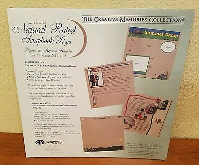 Creative Memories 12x12 Natural Ruled Scrapbook Pages 5 Sheets/10 Pages ~NEW~