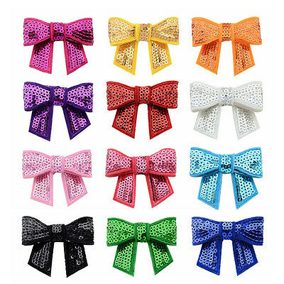 12pcs New Embroidered Sequin Bows Glitter Tie Hairpin Accessories Headbands BLUS