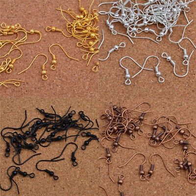 Wholesale Lots 100PCS Earring Hook Coil Ear Wire For Jewelry Making Findings DIY