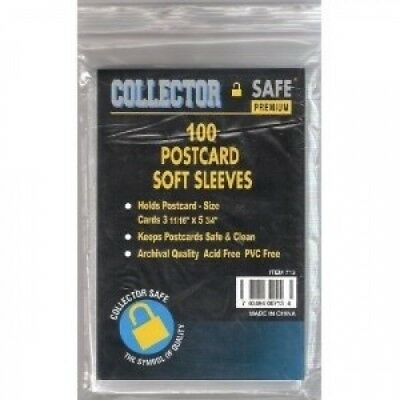 Collector Safe Post Card Soft Sleeve (Qty=25 packs of 100 sleeves). Brand New
