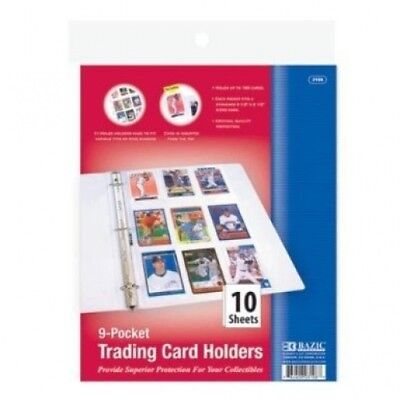 BAZIC Top Loading 9 Pockets Sports Card Holder 24 Packs of 10. FindingKing