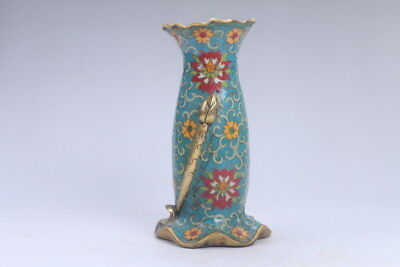 Collection Chinese Hand-carved Cloisonne Lotus vase qianlong mark ac186