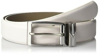 (One Size, Bright White) - Callaway Mens Leather Prong Belt. Free Shipping