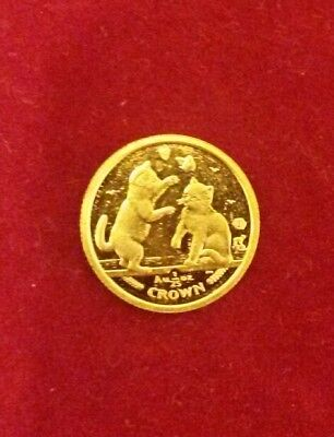 2004 1/25 oz Isle of Man gold Crown Tonkinese Cat coin prooflike 2 cats playing
