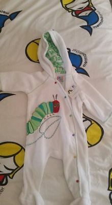 THE VERY HUNGRY CATERPILLAR baby FLEECE jumpsuit BODYSUIT  BNWT 00 3-6 MONTHS