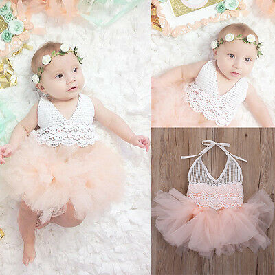 Kids Baby Girl Tutu Dress Lace Tulle Romper Dress Jumpsuit Outfits Party Clothes