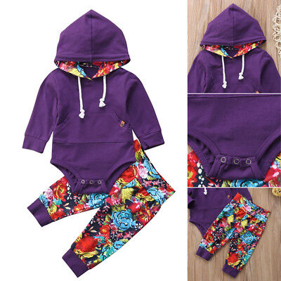 AU Newborn Baby Girls Clothes Hoodie Romper Bodysuit+Pants Leggings 2Pcs Outfit