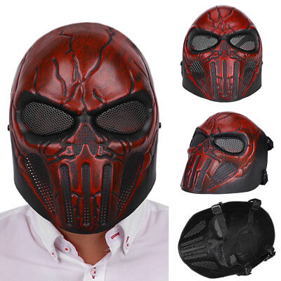 Tactical Airsoft Full Face Skull Mesh Safety Protection Mask Goggles Outdoor Red
